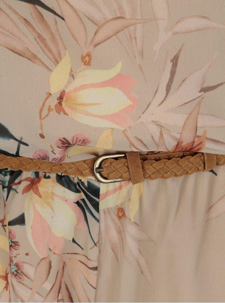 Béžový květovaný overal s páskem ONLY Libby