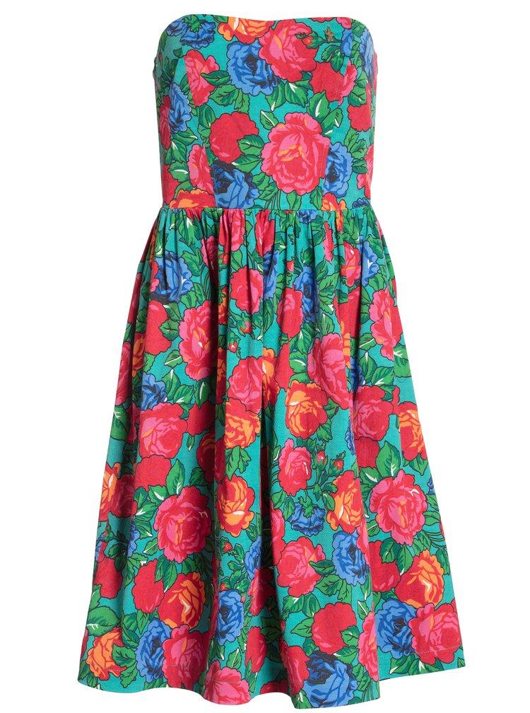 Červeno-zelené vzorované šaty na ramínka Blutsgeschwister