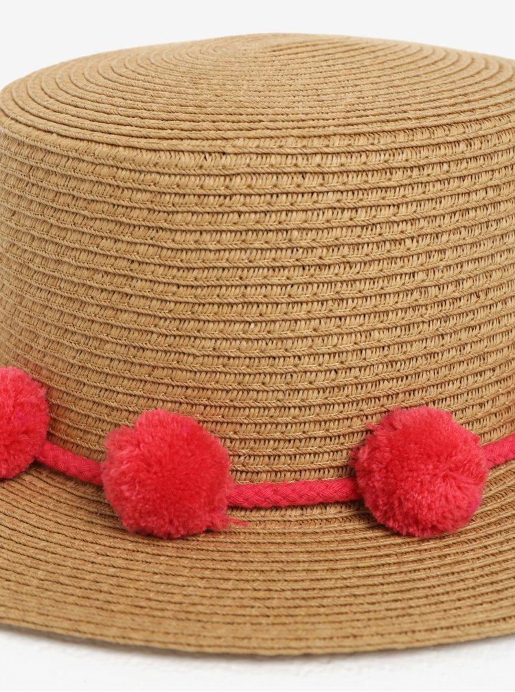 Béžový klobouk s bambulemi Pieces Isa