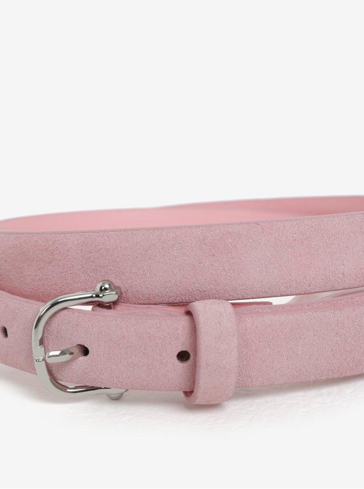 Růžový semišový pásek Pieces Grio