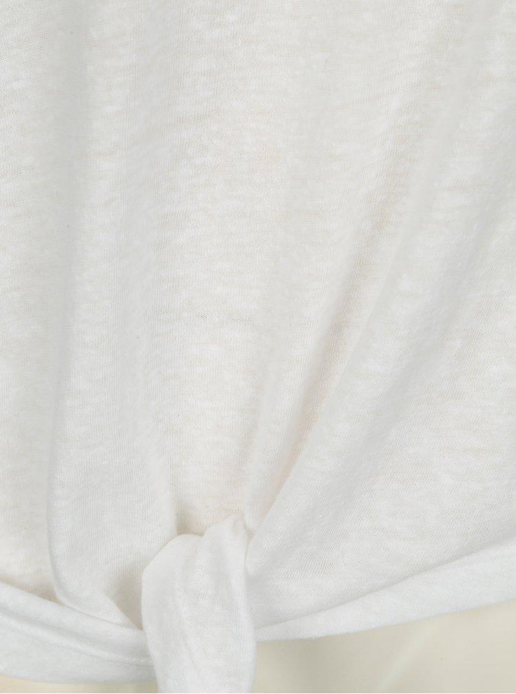 Tricou alb cu nod decorativ - ONLY Uma