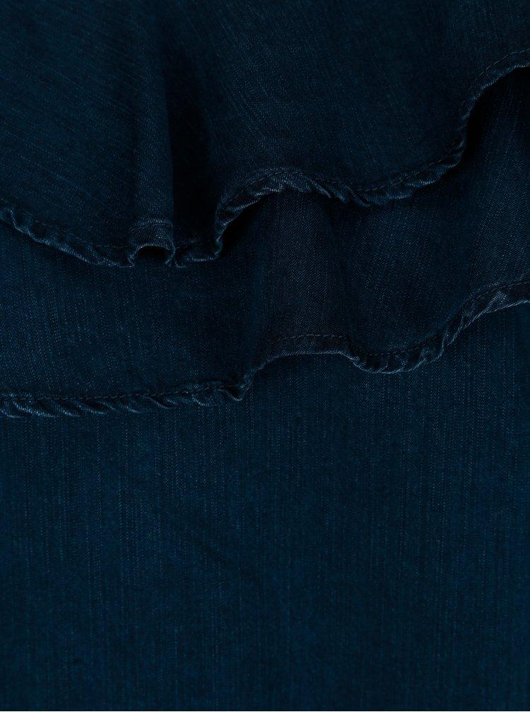 Tmavě modrá asymetrická halenka s volány ONLY Dreamy