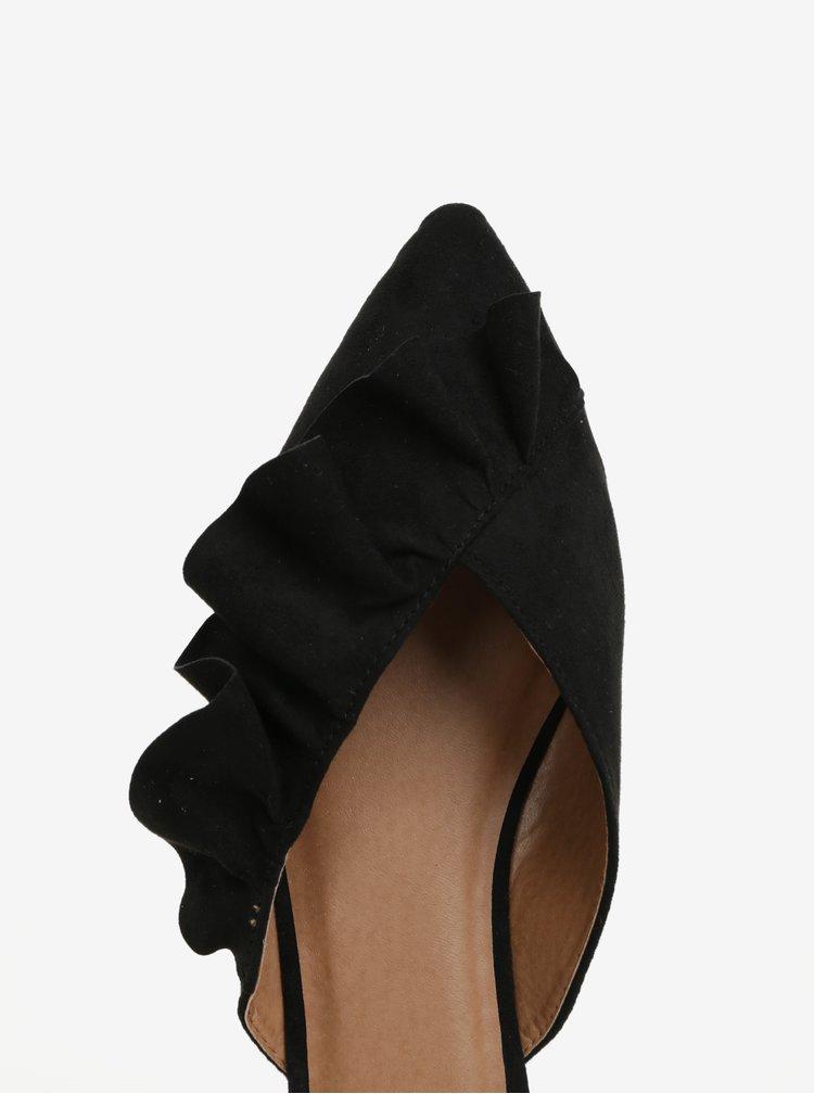 Černé pantofle v semišové úpravě Pieces Donelle