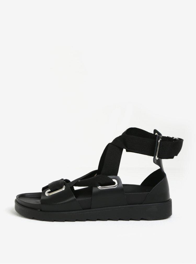 Sandale negre cu siret decorativ din piele Pieces Mariella
