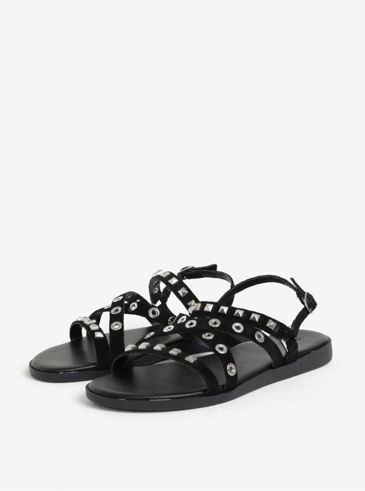 Černé semišové sandály Pieces Nantale