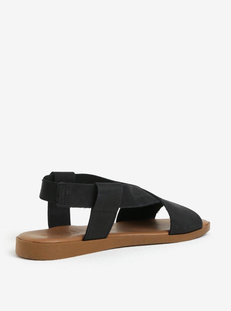 Sandale negre cu barete suprapuse din piele Pieces Malu