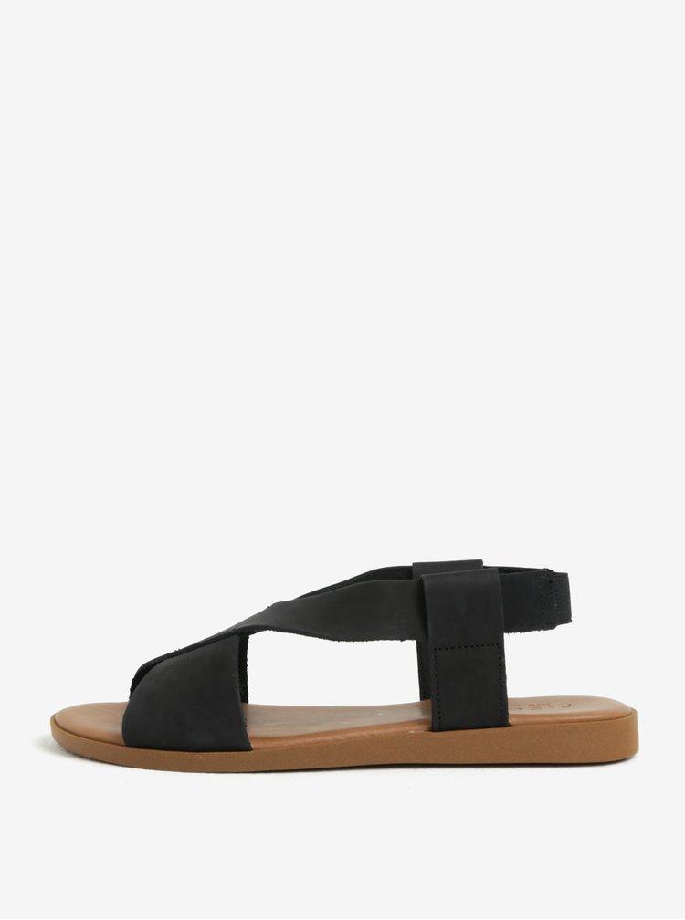 Čierne kožené sandále Pieces Malu