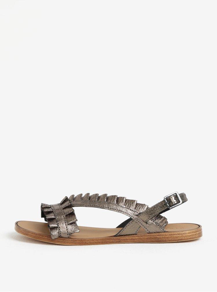 Hnědé metalické kožené sandály Pieces Mindy