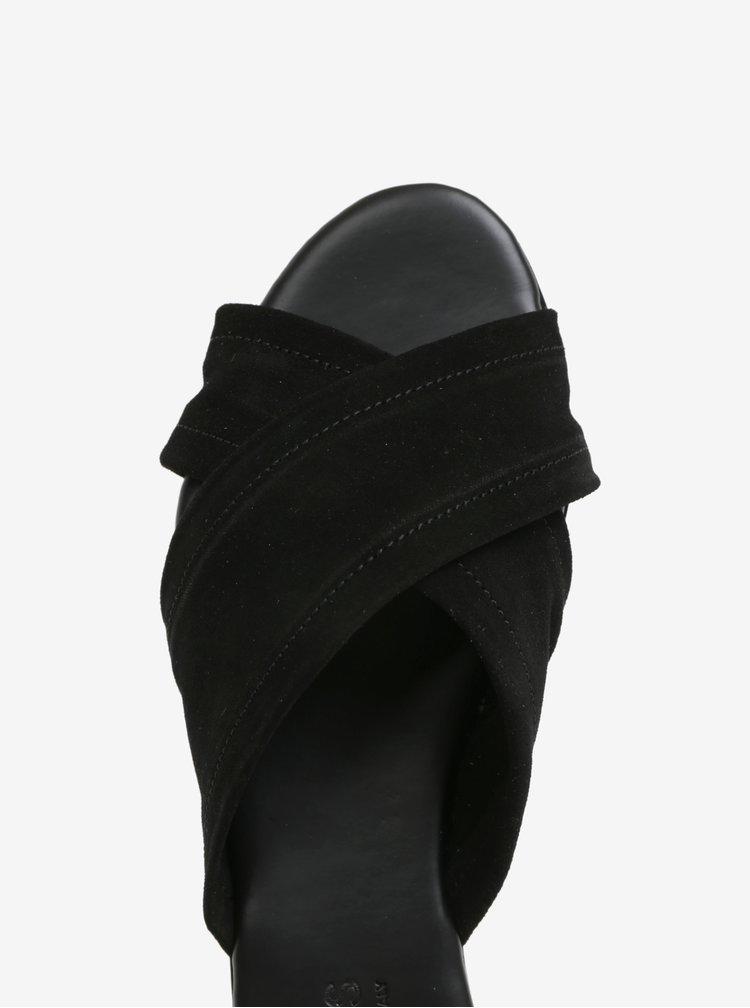 Papuci negri cu barete suprapuse din piele Pieces Marnie
