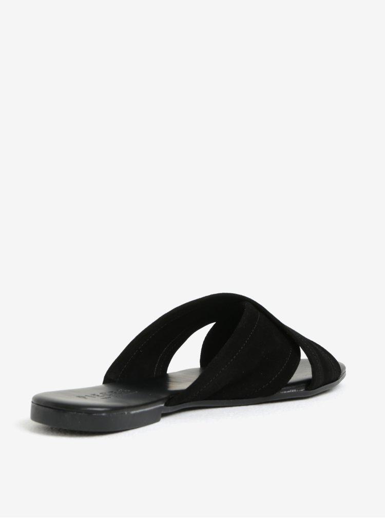 Černé semišové pantofle Pieces Marnie