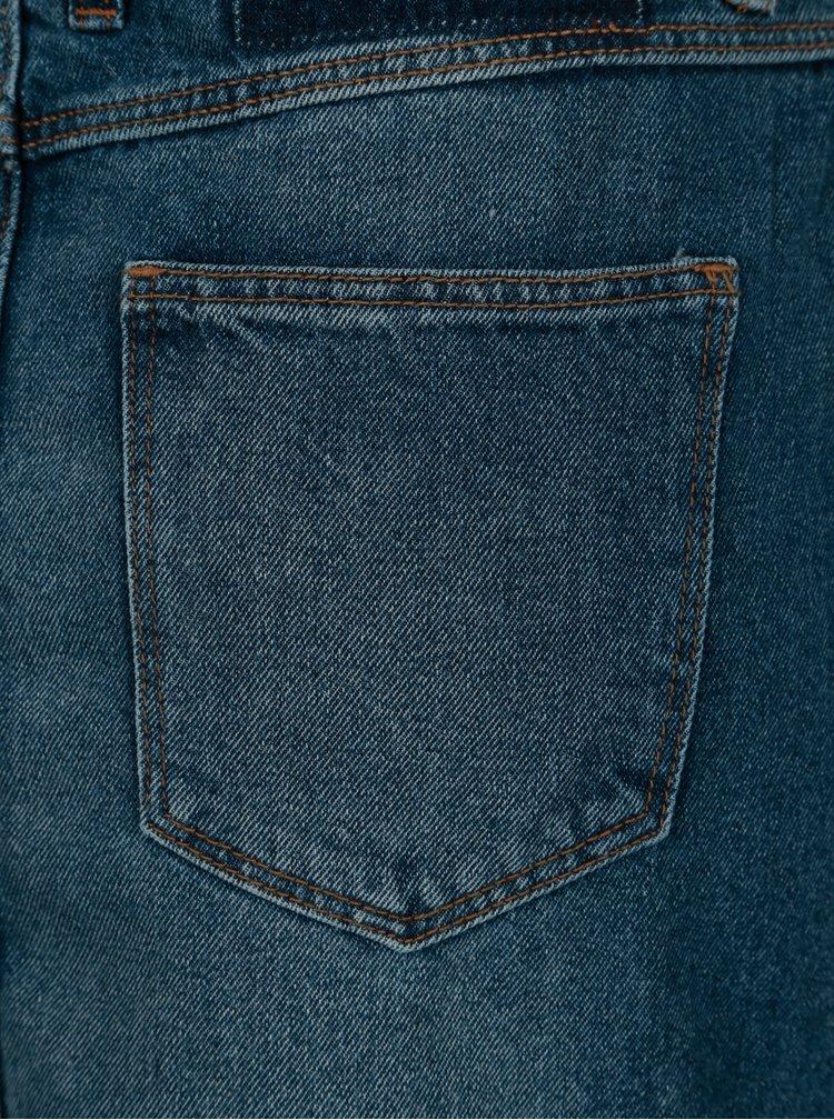 Fusta asimetrica albastra din denim cu franjuri - ONLY Summer