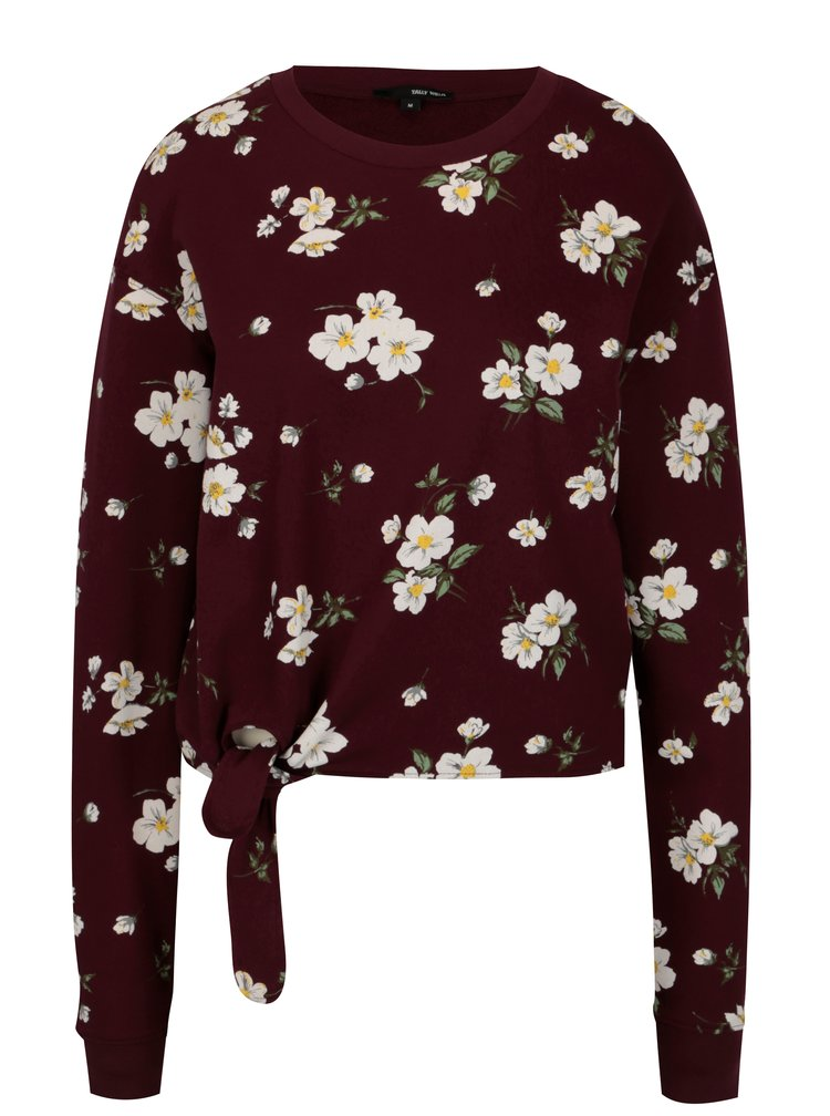 Bluza cropped bordo cu nod decorativ - TALLY WEiJL