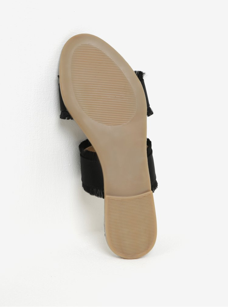 Papuci negri cu franjuri Pieces Mio