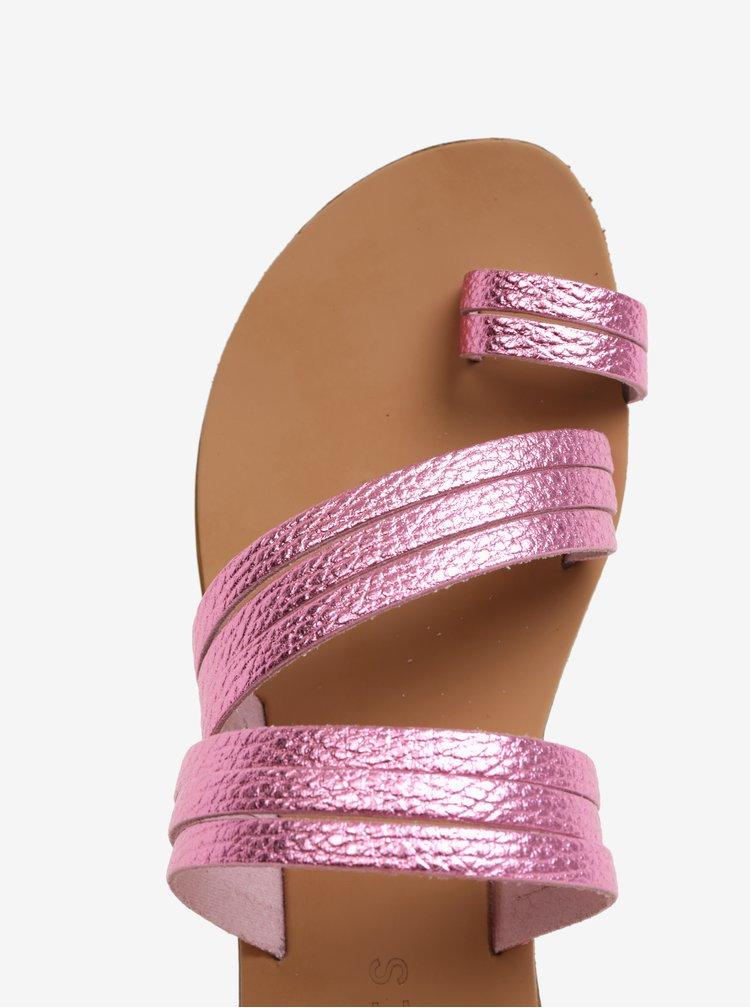 Růžové metalické kožené pantofle Pieces Mavis