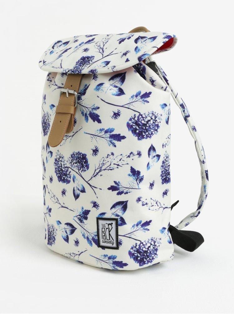 Krémový dámský batoh s květovaným potiskem The Pack Society 10 l