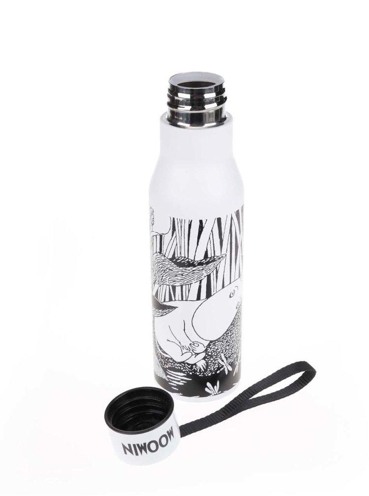 Černo-bílá termoska s potiskem Disaster Moomin Midwinter