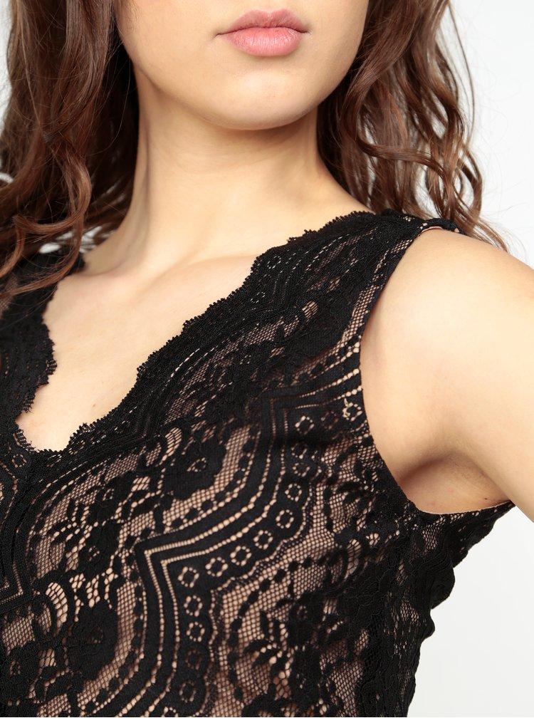 Béžovo-černé pouzdrové krajkové šaty Oasis Sexy