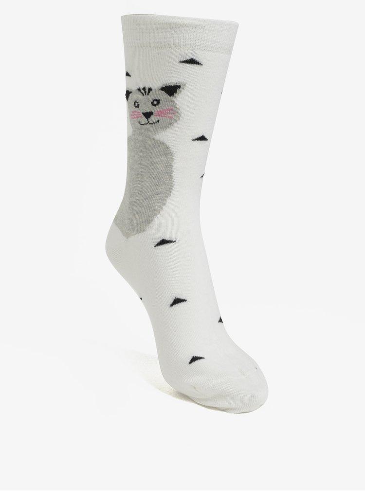 Krémové dámské vzorované ponožky s motivem kočky ZOOT