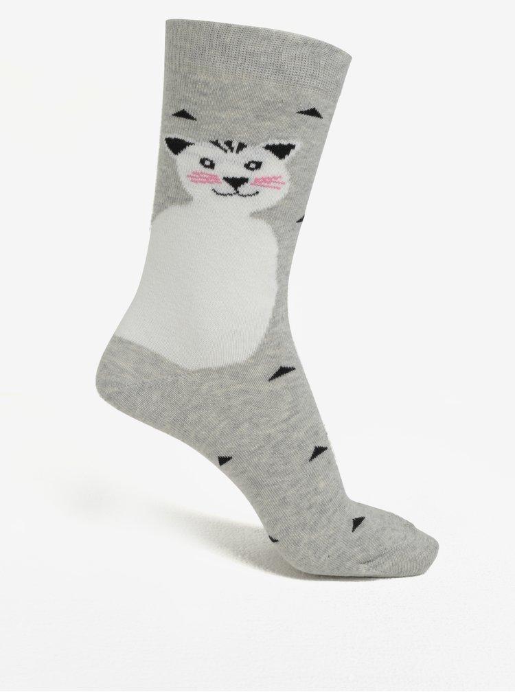 Světle šedé dámské vzorované ponožky s motivem kočky ZOOT