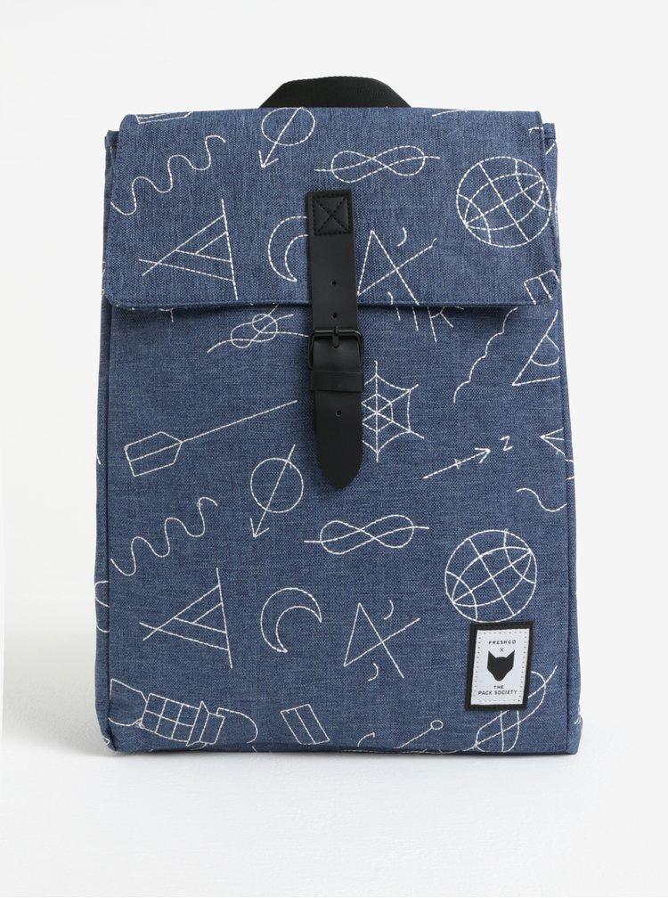 Modrý batoh s vyšitými vzory 18l The Pack Society
