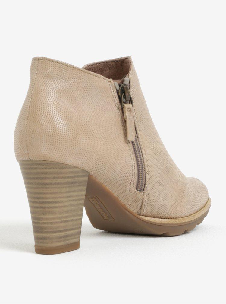 Světle hnědé kotníkové boty na podpatku Tamaris