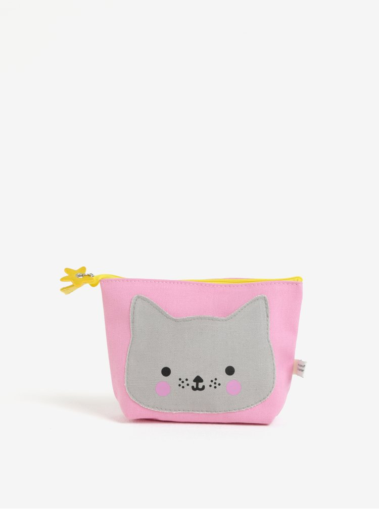 Šedo-růžová kosmetická taštička Disaster Hi Kawaii Cat