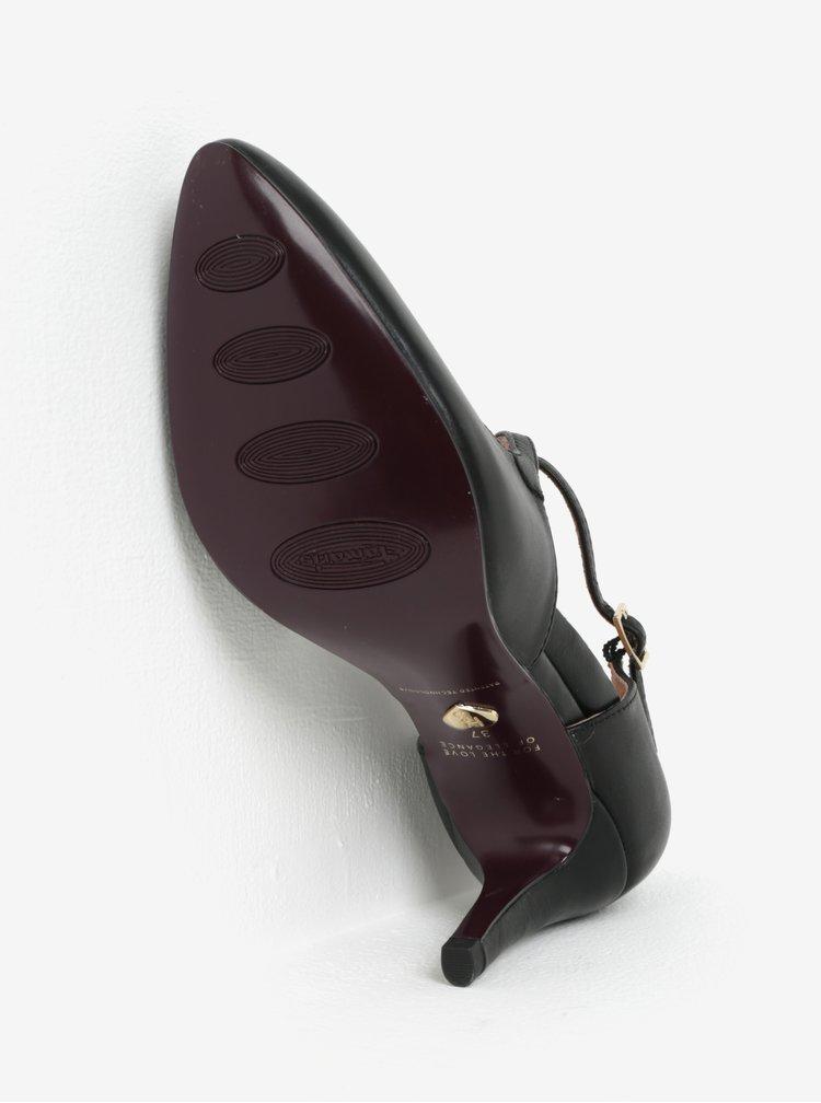 Pantofi cu toc negri cu barete din piele Tamaris