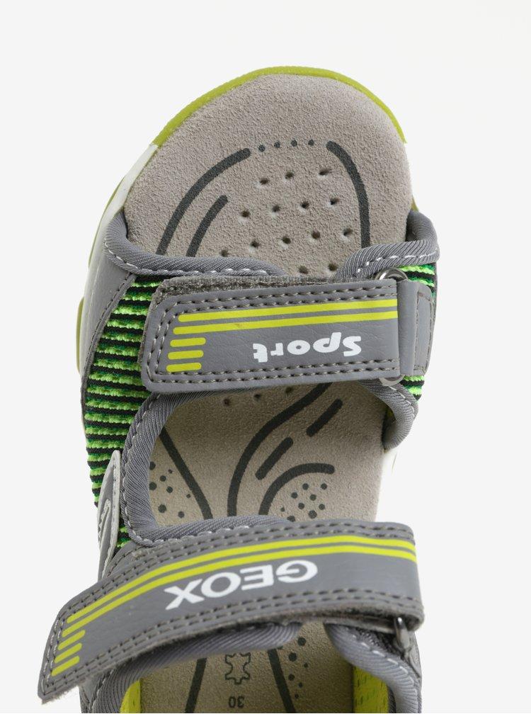 Zeleno-šedé klučičí svítící sandály Geox Android
