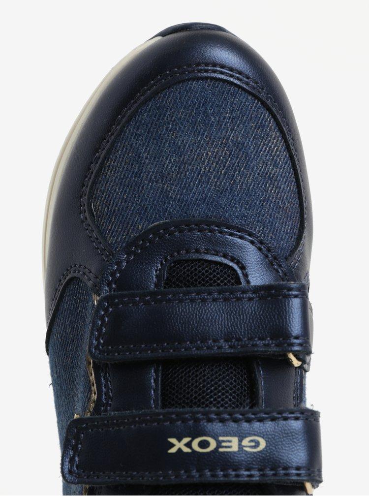 Modré holčičí tenisky s detaily ve zlaté barvě Geox Jensea