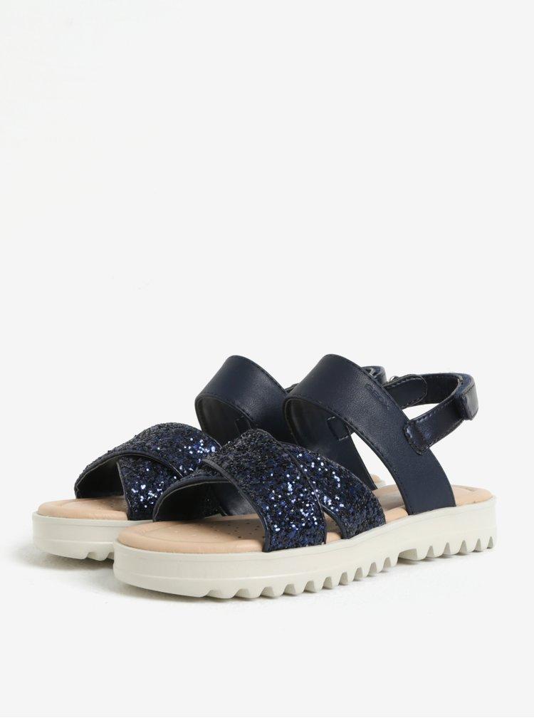 Tmavě modré holčičí třpytivé sandálky na platformě Geox Coralie