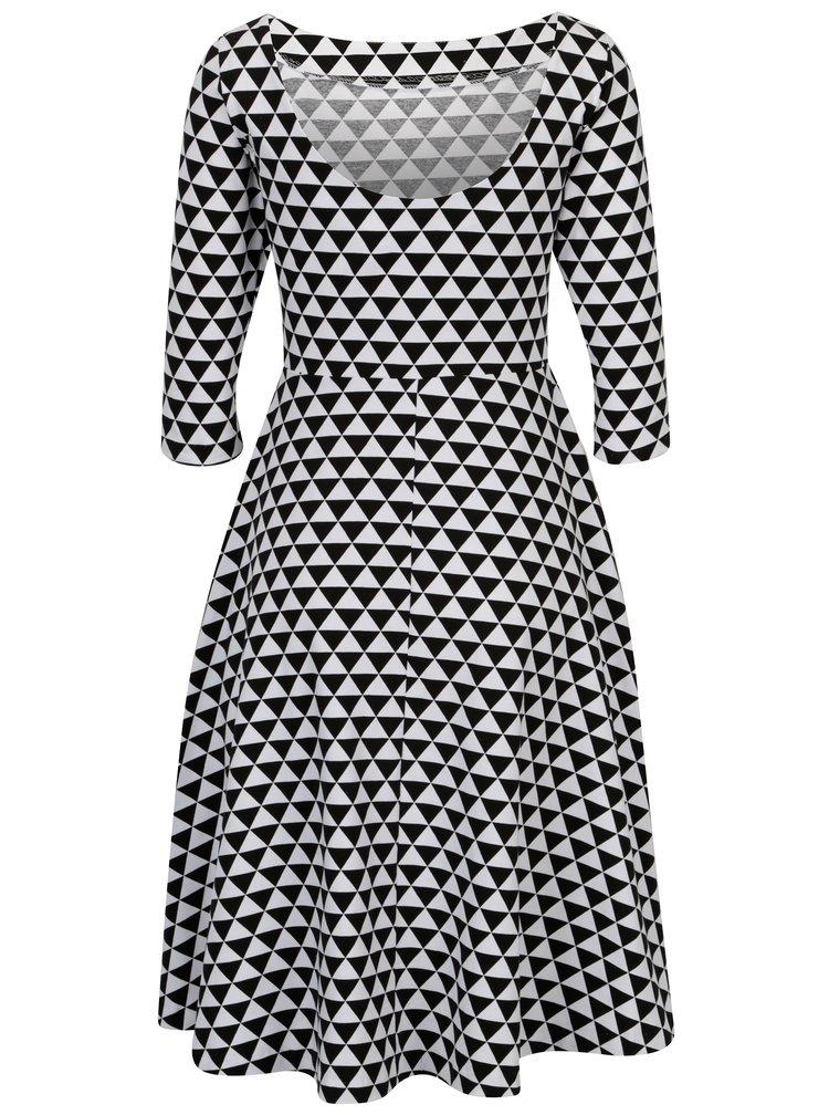 Černo-bílé áčkové vzorované šaty s 3/4 rukávem miestni Bla