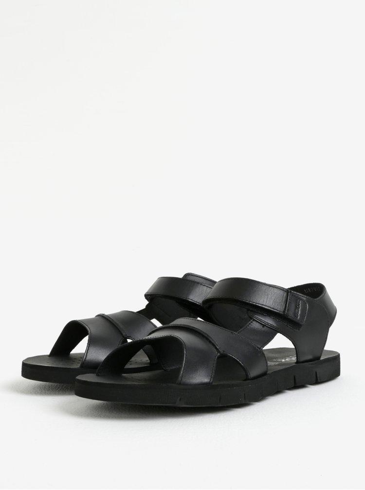 Čierne pánske kožené sandále Geox Marry Glenn