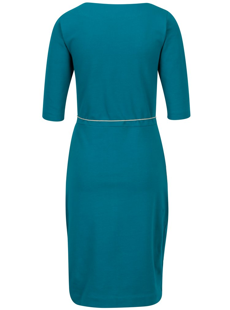 Modré pouzdrové šaty s kapsami miestni