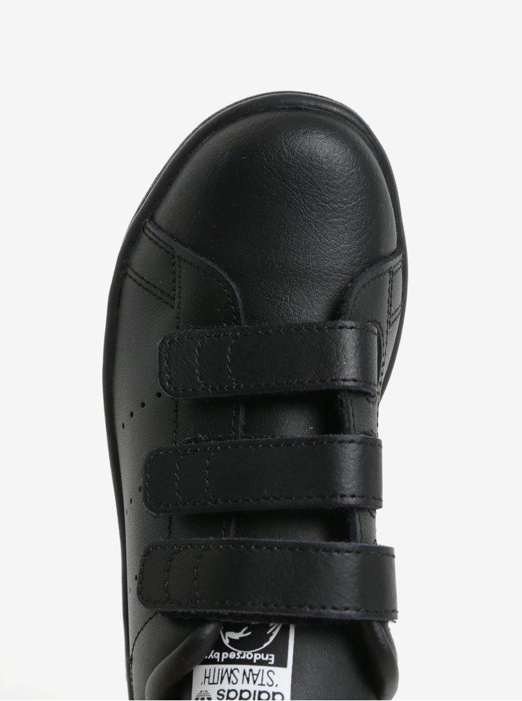 Černé dětské kožené tenisky na suchý zip adidas Originals