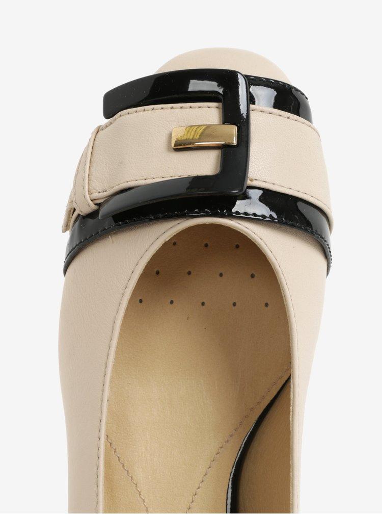Černo-béžové kožené baleríny se sponou Geox Wistrey