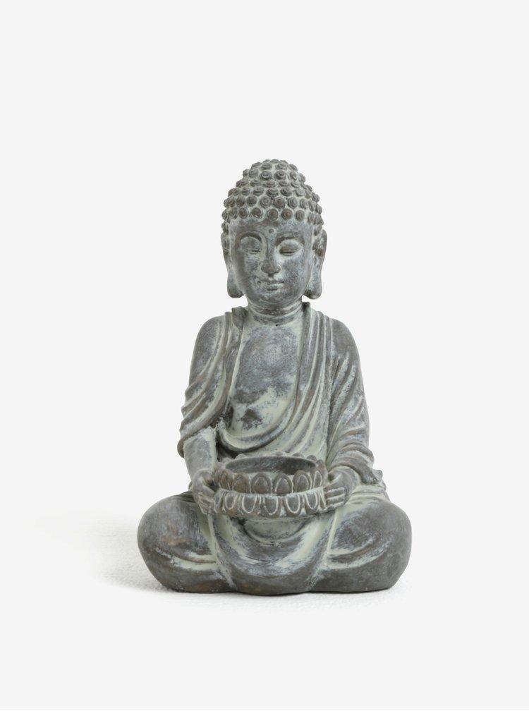 Hnědo-šedý svícen ve tvaru Buddhy SIFCON