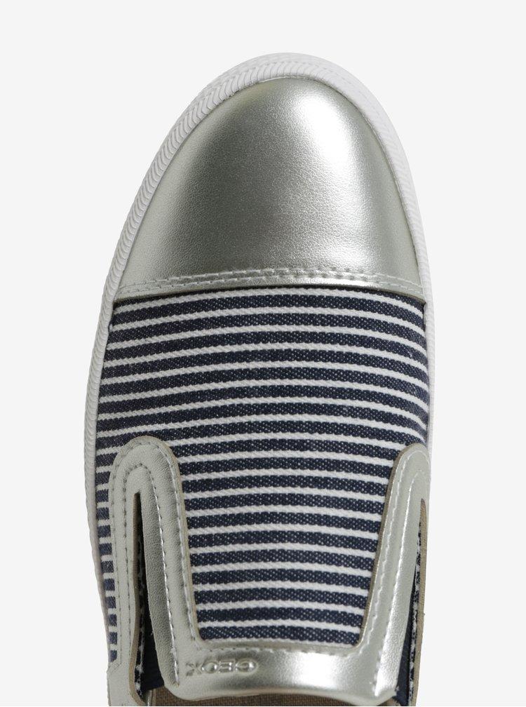 Dámské slip on v modro-stříbrné barvě Geox Giyo