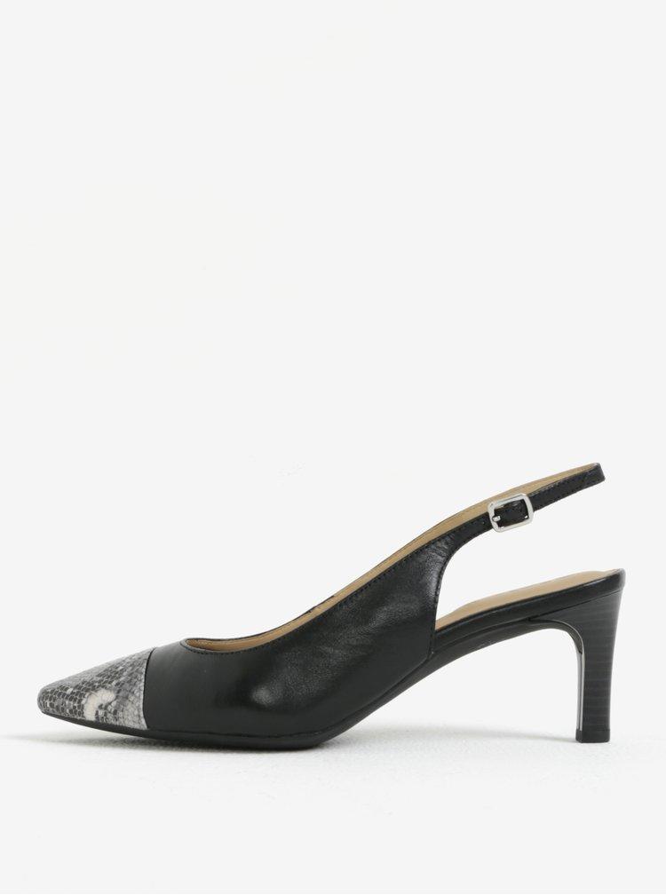 Černé kožené sandálky Geox Bibbiana