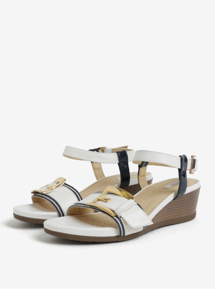 Modro-krémové sandály na klínku Geox Mary Karmen