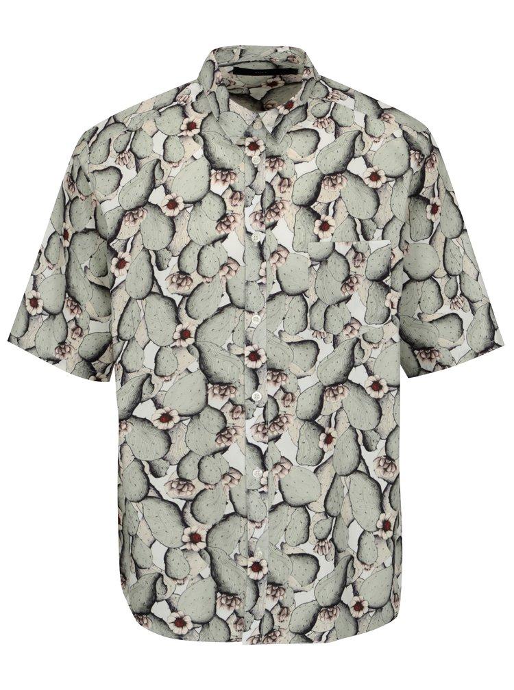 Krémovo-zelená vzorovaná košile SUIT