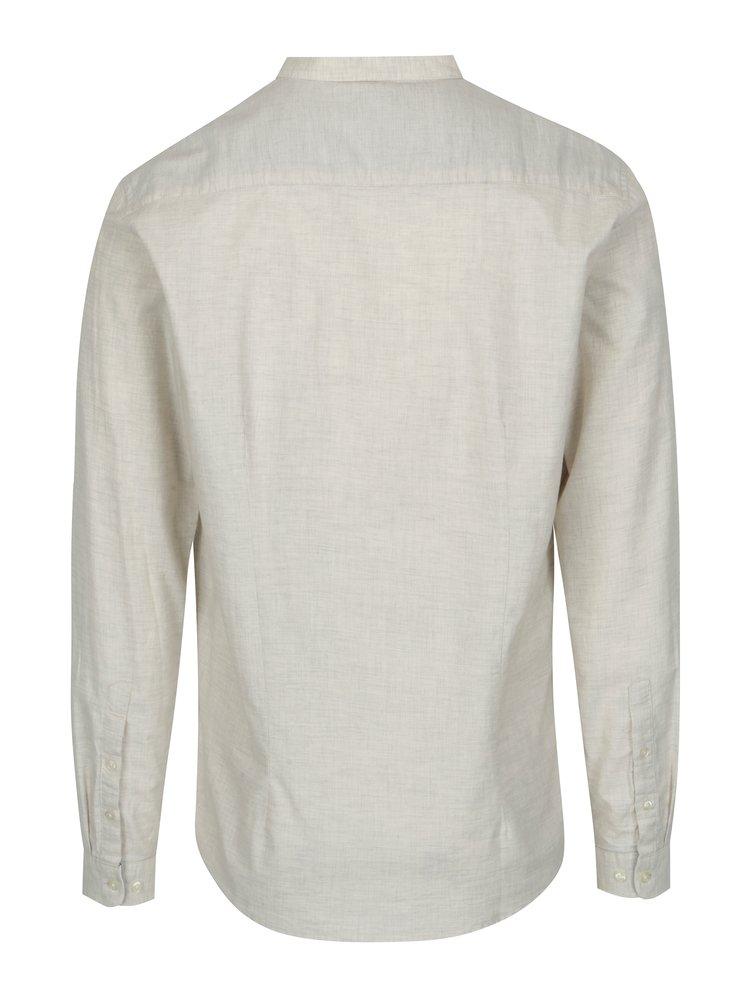 Krémová košile bez límečku SUIT Oxford