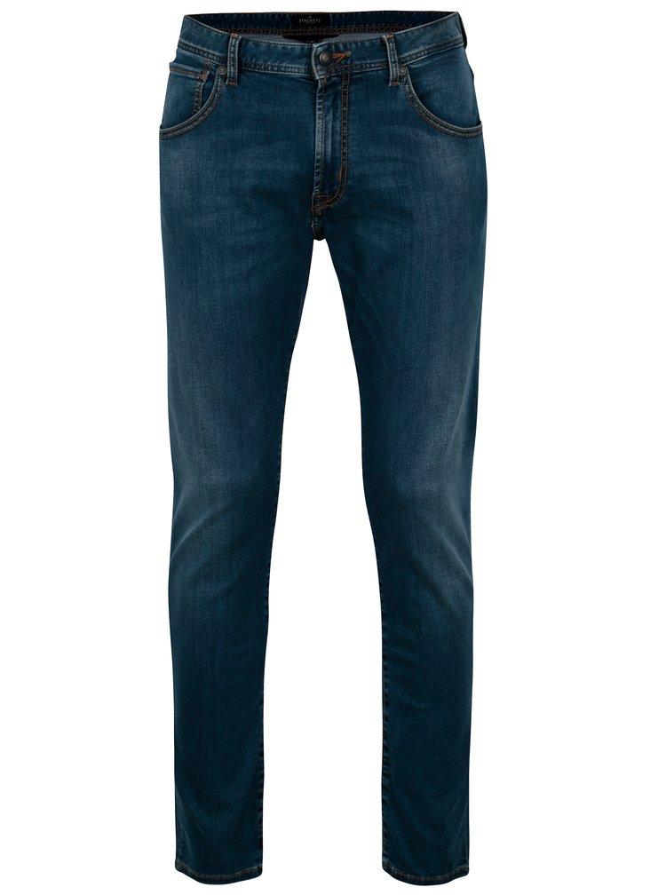 Modré slim džíny s vyšisovaným efektem Hackett London
