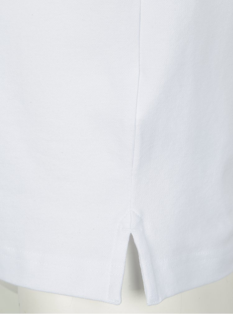 Tricou polo alb cu logo brodat si guler contrastant -  Hackett London