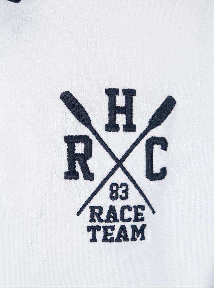 Bílé classic fit polo tričko s výšivkou Hackett London