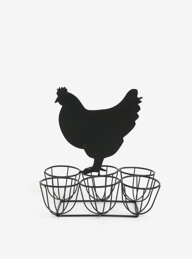 Černý kovový stojan na vejce s tabulí ve tvaru slepice SIFCON