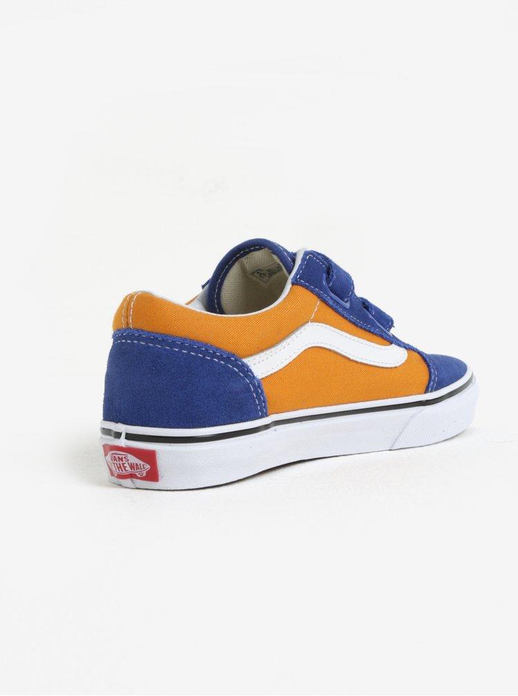 Oranžovo-modré klučičí semišové tenisky VANS Old Skool