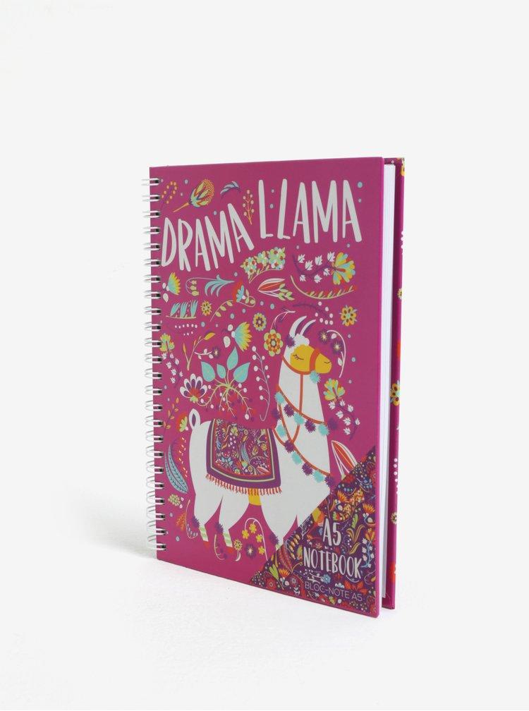 Růžový zápisník s motivem lamy SIFCON