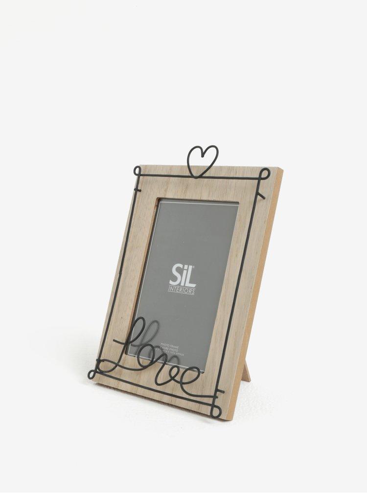 Béžový stolní fotorámeček s kovovým zdobením SIFCON