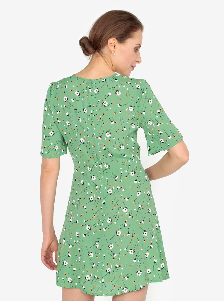 Světle zelené květované šaty s uzlem Miss Selfridge