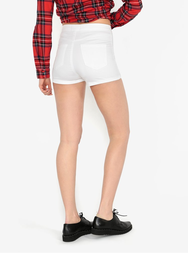 Bílé džínové kraťasy s vysokým pasem steffi short Miss Selfridge